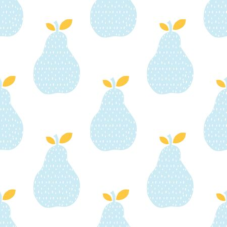 Hand drawn pear seamless pattern. Cute dots texture. Vector illustration.