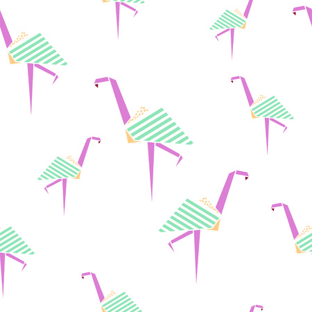 Flamingo seamless pattern. Origami style background. Geometrical style. Vector illustration. Stock Vector - 71191641