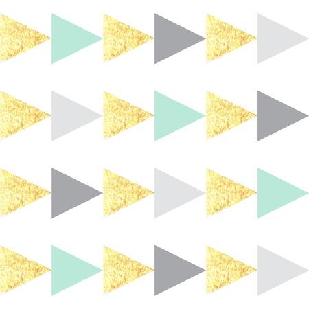 Seamless hand drawn gold triangle geometric  pattern. Childrens background.