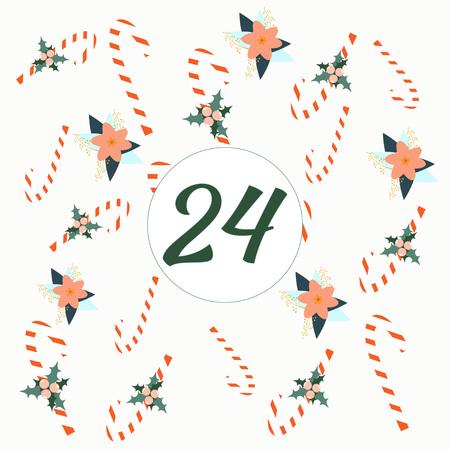Advent calendar. Christmas calendar. Vector illustration. Countdown to Christmas 24