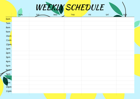Cute style Weekly Planner Template for 2016. Vector Illustration. Summer Season Background. Organizer and Schedule with place for Notes.