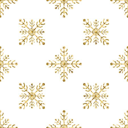 Gold snowflake seamless pattern. Vector illustration.Beautiful Christmas background. Stock Vector - 71191700