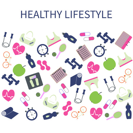 Healthy lifestyle , Fitness  and sport colorful icons set. Stock Vector - 71200336