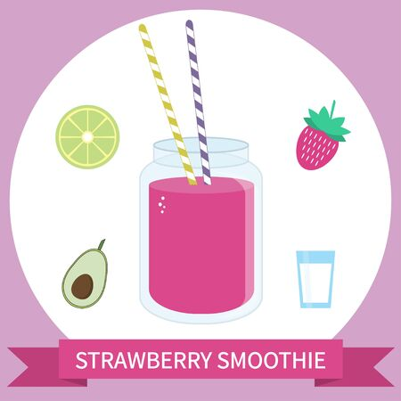 Illustration of healthy smoothie recipe with ingredients. Can be used as menu element for cafe or restaurant.
