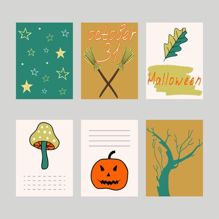 Cute Halloween cards set. Vector illustration, journaling cards. Pumpkin, tree, mushroom, stars pattern. Stock Vector - 71200344