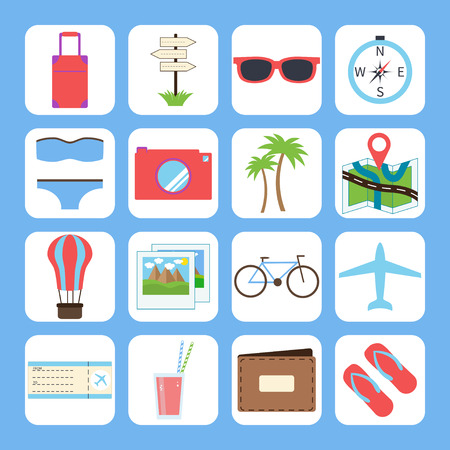 Summer and travel icons in modern, flat design style.Isolated on white background. Illustration