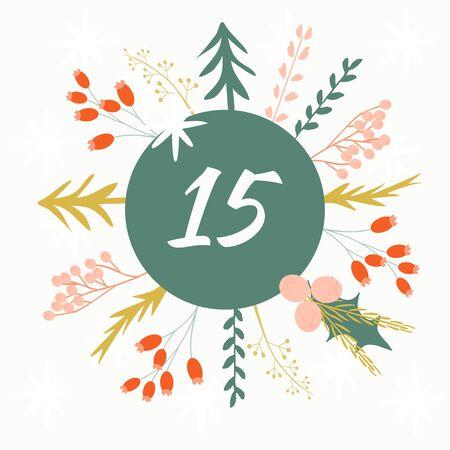 Advent calendar. Christmas calendar. Vector illustration. Countdown to Christmas 15 Illustration
