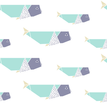 Origami whales seamless pattern. Japanese origami background. Geometrical style. Vector illustration. Stock Vector - 71200374