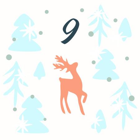 Advent calendar. Christmas calendar. Vector illustration. Countdown to Christmas 9