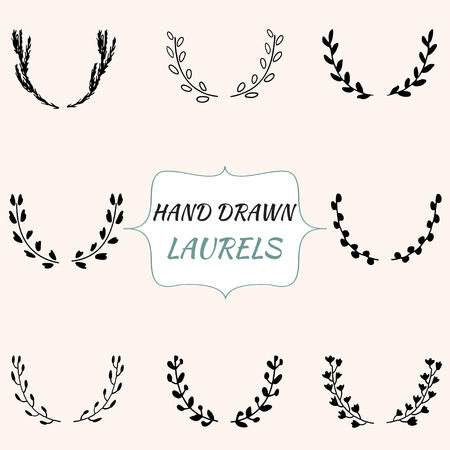Set of hand drawn laurels. Vector illustration.Can be used for cards or templates. Illustration