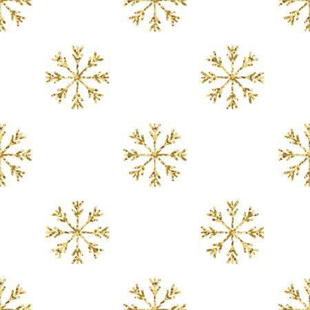 Gold snowflake seamless pattern. Vector illustration.Beautiful Christmas background. Stock Vector - 71200903