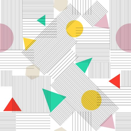 Abstract Seamless retro Pattern. Vector Texture with triangles, lines, circles. Hipster pattern.  Trendy pattern. Modern pattern. The era 80s - 90s years design style. Randomly geometric shapes. Vintage pattern for fabric.