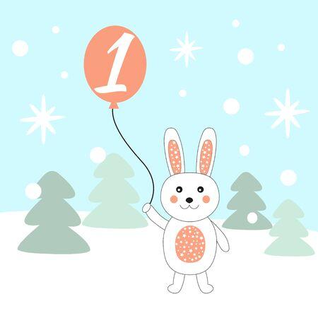 Advent calendar. Christmas calendar. Vector illustration. Countdown to Christmas 1