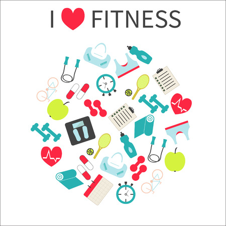 I  love fitness. Fitness  and sport colorful icons set.I love Illustration