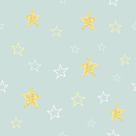 Seamless vector  hand drawn gold star pattern. Childrens background. Illustration