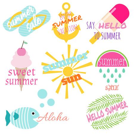 Summer labels set with phrases about summer, vacation, sale. Vector set. Design elements with colorful lemon, smoothie, anchor, watermelon, ice cream, sun, wreath, palm leaves. All elements are isolated on white. Illustration