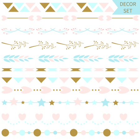 Set of vector romantic vector line borders and dividers ,design elements. Perfect for valentine?s day card and wedding invitation, save the date cards, baby shower. Graphic set, hearts, laurel, wreaths, ribbons, labels.