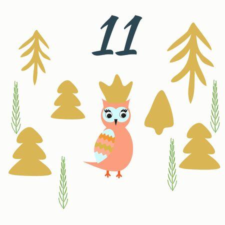 Advent calendar. Christmas calendar. Vector illustration. Countdown to Christmas 11