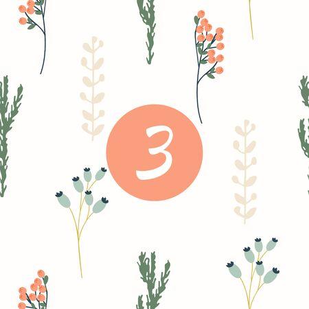 countdown: Advent calendar. Christmas calendar. Vector illustration. Countdown to Christmas 3