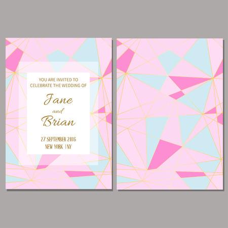 Save the date card. Wedding invitation template. Geometric polygonal trendy design.  Vector illustration.
