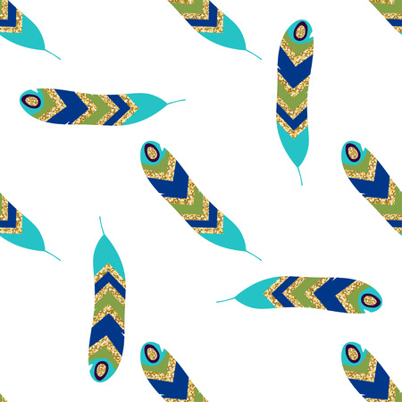 Seamless pattern with feathers. Gold elements. Vector illustration.
