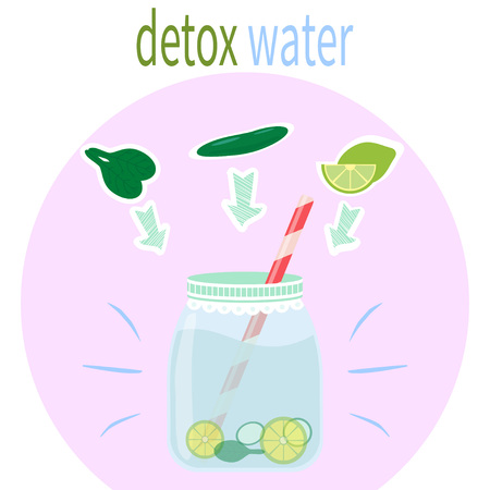 Detox water recipe. . Illustration with mason jar and ingredients. Healthy raw drink. Fresh cocktail for healthy life, diets. Vector illustration. Illustration