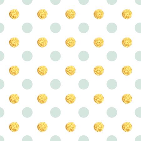 Seamless hand drawn gold dot pattern. Childrens background. Illustration