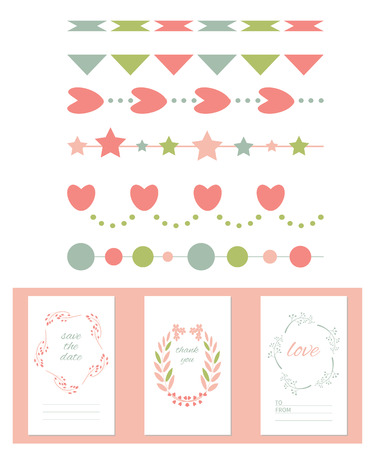 Set of vector design elements+ 3 card templates. Perfect for valentines day card and wedding invitation, save the date cards. Graphic set, hearts, laurel, wreaths, ribbons, labels. Illustration