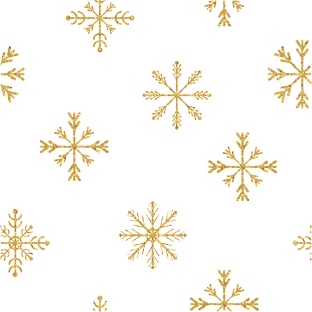 Gold snowflake seamless pattern. Vector illustration.Beautiful Christmas background. Illustration