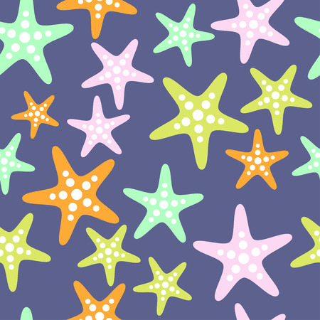 Seamless sea pattern with starfish. Sea stars tile background. Perfect for wallpapers, web page backgrounds, surface textures, textile. Summer vector background.