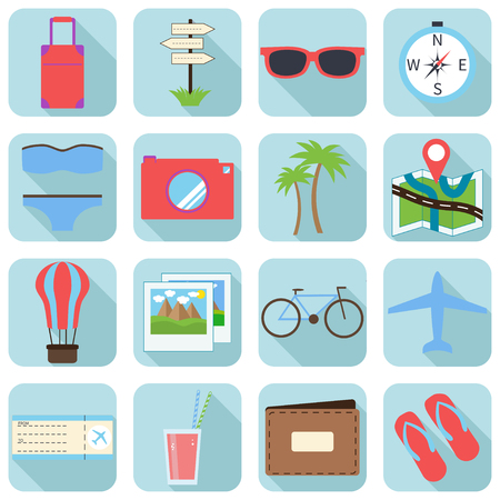 Summer and travel icons in modern, flat design style with long shadow effect in stylish colors.