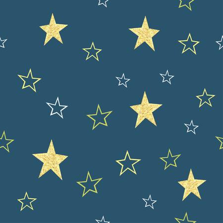Seamless vector hand drawn gold stars  pattern. Childrens background. Illustration