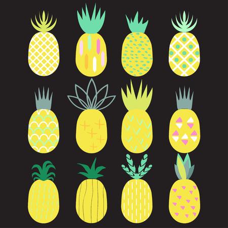 Pineapples set. 80-90s fashion style. Vector illustration.