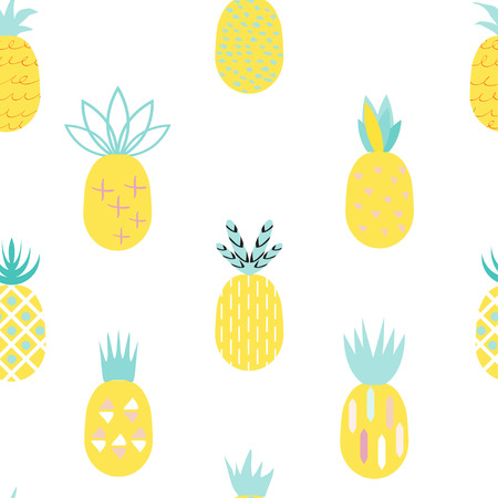 Pineapple colorful seamless pattern.  Retro vintage 80s- 90s  memphis pineapple fruit seamless pattern background. Summer geometric creative pineapple background.  Ideal for fabric design, paper print and web backdrop.