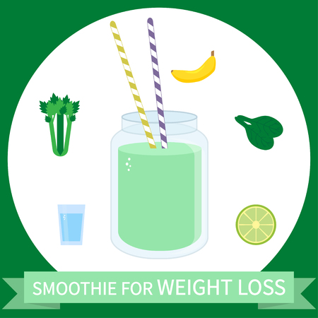 Illustration of  smoothie for weight loss with ingredients. Can be used as menu element for cafe or restaurant.