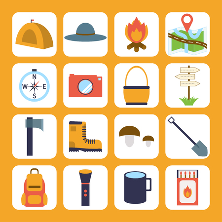 Set of camping and outdoor symbols and icons.  Colorful camping icons. Stock Vector - 71190780