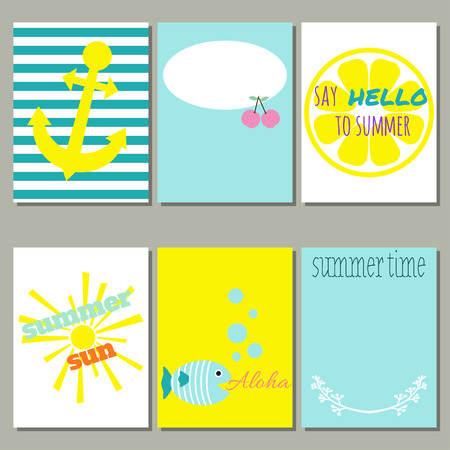 Set of 6 of bright summer cards. Vector illustration. Creative journaling cards. Stock Vector - 71190782