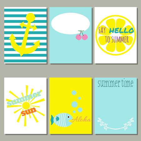 Set of 6 of bright summer cards. Vector illustration. Creative journaling cards. Illustration