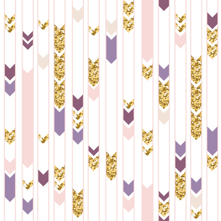 Seamless gold and purple geometric pattern. Cute holiday background. Illustration