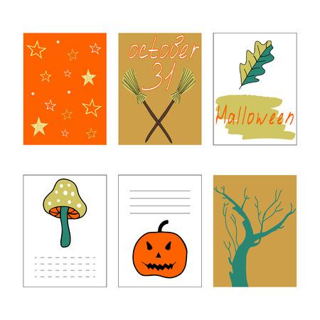 Cute Halloween cards set. Vector illustration, journaling cards. Pumpkin, tree, mushroom, stars pattern.