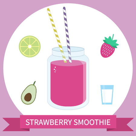 Illustration of healthy smoothie recipe with ingredients. Can be used as menu element for cafe or restaurant. Stock Vector - 71190787