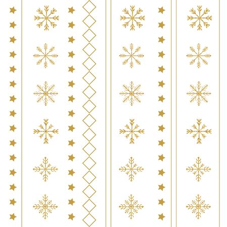 Gold snowflake seamless pattern. Vector illustration.Beautiful Christmas background. Stock Vector - 71190793