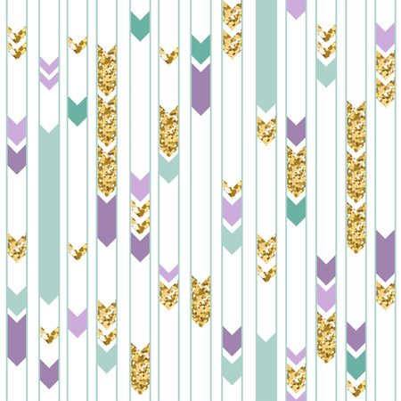 Seamless gold, green and purple geometric pattern. Cute holiday background. Illustration