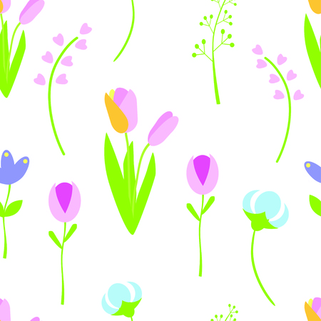 Spring flowers seamless pattern. Cute colorful flowers. Vector illustration.