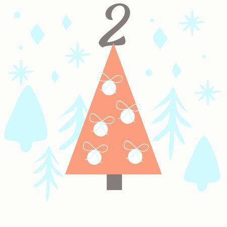Advent calendar. Christmas calendar. Vector illustration. Countdown to Christmas 2