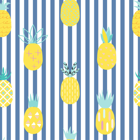 Pineapple colorful seamless pattern with blue stripes.  Retro vintage 80s- 90s  memphis pineapple fruit seamless pattern background. Summer geometric creative pineapple background.  Ideal for fabric design, paper print and web backdrop. Illustration