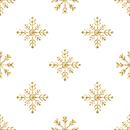 Gold snowflake seamless pattern. Vector illustration.Beautiful Christmas background. Stock Vector - 71190797