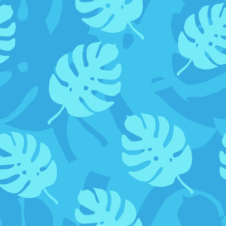 Tropical leaves seamless pattern in blue color. Vector illustration.