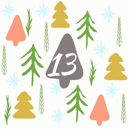 Advent calendar. Christmas calendar. Vector illustration. Countdown to Christmas 13 Stock Vector - 71190831