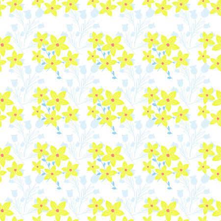Seamless background with wild flowers. Vector pattern with wild summer flowers. Stock Vector - 71190824